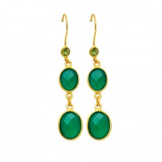 Bezel Setting Green Onyx Peridot Gemstone 925 Sterling Silver Gold Plated Dangle Earrings