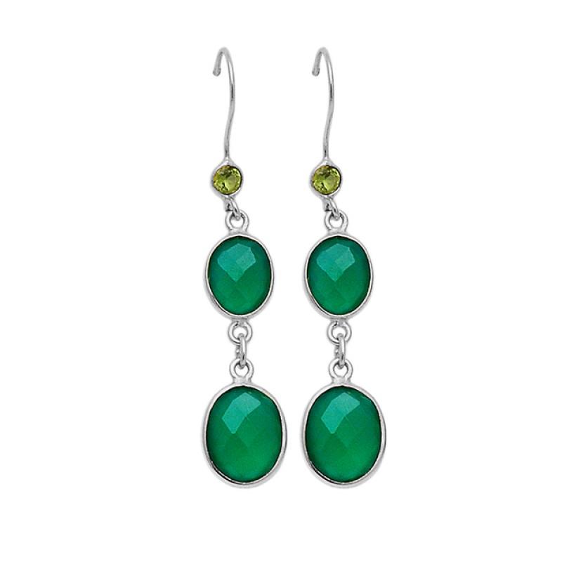 Bezel Setting Green Onyx Peridot Gemstone 925 Sterling Silver Gold Plated Dangle Earrings