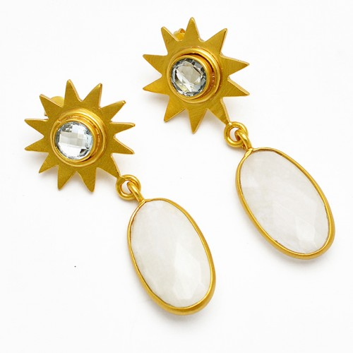 Oval Round Shape Moonstone Blue Topaz Gemstone Star Designer Dangle Earrings