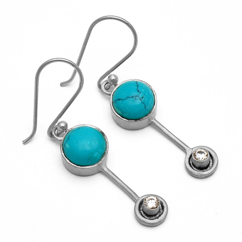 Round Shape Turquoise Cubic Zirconia Gemstone 925 Silver Gold Plated Earrings