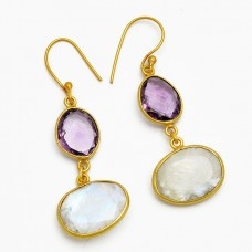 Amethyst Moonstone 925 Sterling Silver Gold Plated Dangle Handmade Earrings