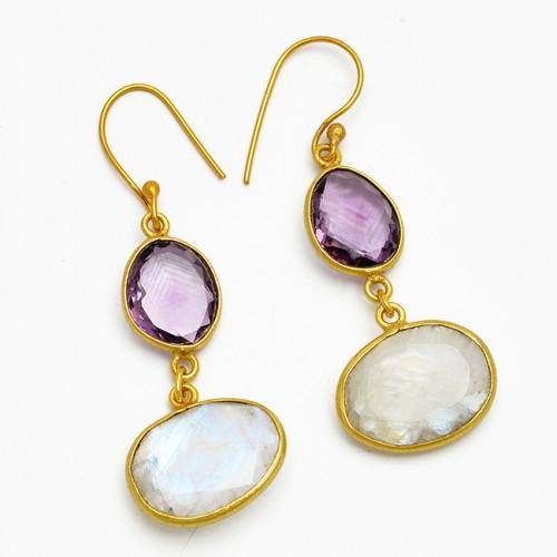 Amethyst Moonstone 925 Sterling Silver Gold Plated Dangle Handmade Earrings