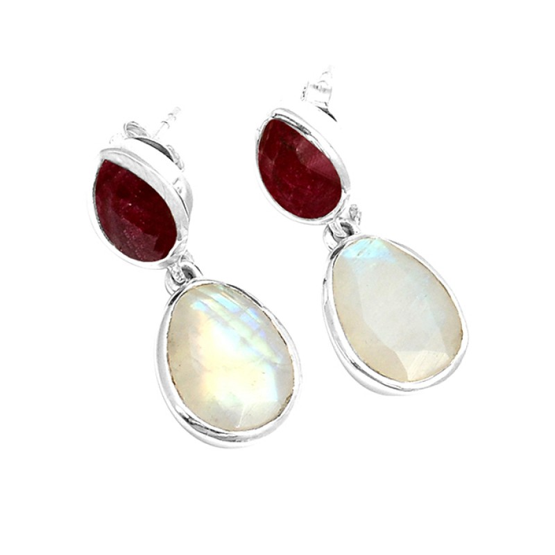 Ruby Rainbow Moonstone Handmade 925 Sterling Silver Stud Dangle Earrings