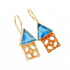 Blue Topaz Triangle Shape Gemstone 925 Sterling Silver Gold Plated Fixed Ear Wire Earrings