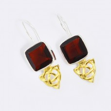 Cushion Shape Garnet Gemstone 925 Sterling silver Gold Plated Fixed Ear Wire Earrings