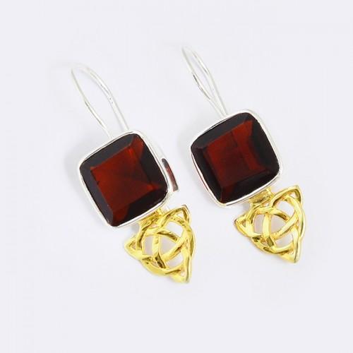 Cushion Shape Garnet Gemstone 925 Sterling silver Gold Plated Fixed Ear Wire Earrings