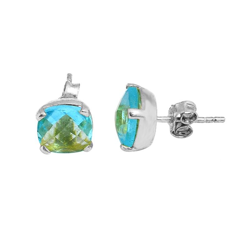 Cushion Shape Blue Topaz Gemstone 925 Sterling Silver Gold Plated Stud Earrings