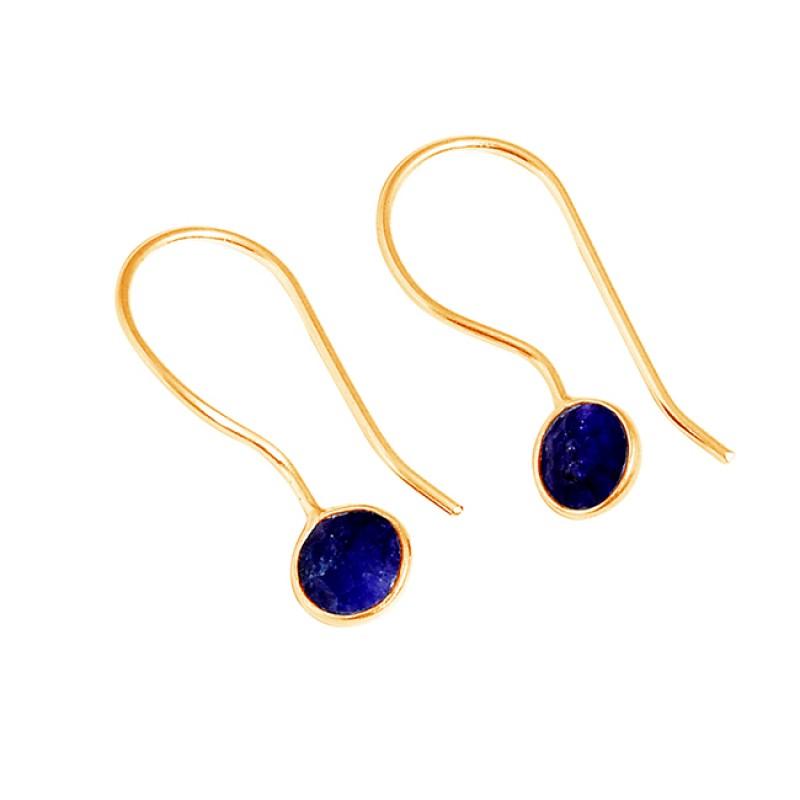 Round Shape Blue Sapphire Gemstone 925 Sterling Silver Handmade Hoop Earrings