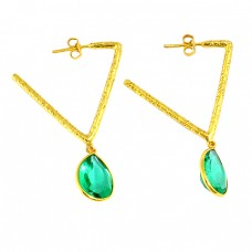 Faceted Pear Shape Green Quartz Gemstone 925 Silver Gold Plated Hoop Earrings