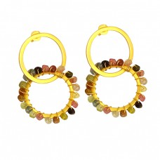 Multi Color Tourmaline Faceted Roundel Beads Gemstone Gold Plated Earrings