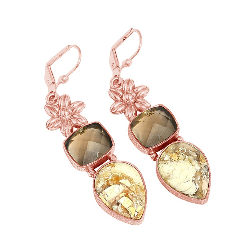 Smoky Breceted Mokite Gemstone 925 Sterling Silver Gold Plated Clip-On Earrings