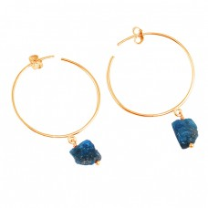 Raw Apatite Rough Material Gemstone 925 Sterling Silver Designer Hoop Earrings
