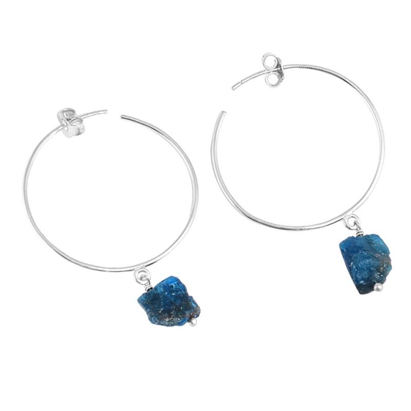 Raw Apatite Rough Material Gemstone 925 Sterling Silver Designer Hoop Earrings