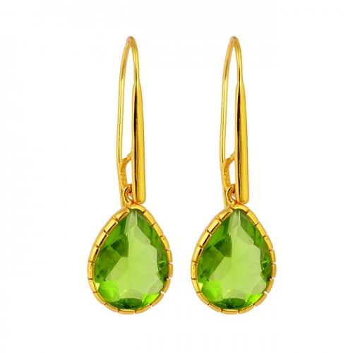 Pear Shape Peridot Gemstone 925 Sterling Silver Gold Plated Dangle Handmade Earrings
