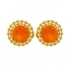 Filigree Designer Carnelian Round Shape Gemstone 925 Silver Gold Plaed Stud Earrings