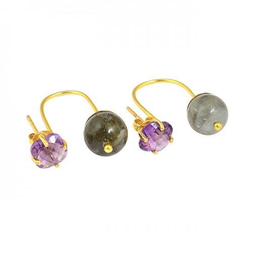 Amethyst Labradorite Round Shape Gemstone 925 Sterling Silver Gold Plated Hoop Earrings