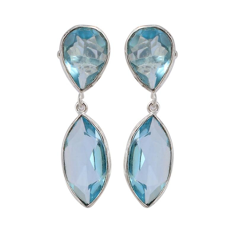 Blue Topaz Pear Marquise Shape Gemstone 925 Sterling Silver Stud Dangle Earrings