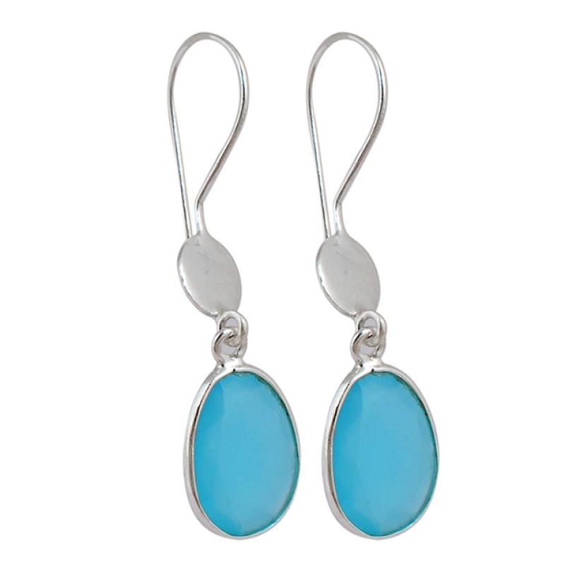 Faceted Oval Shape Blue Chalcedony Gemstone Fixed Ear Wire Dangle Earrings