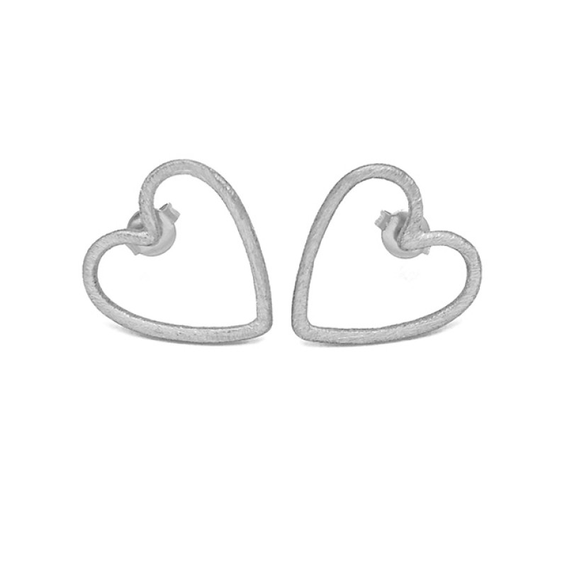 Heart Shape Designer Plain Silver Gold Plated Handcrafted Stud Earrings