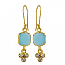 Aqua Chalcedony Cubic Zirconia Gemstone 925 Sterling Silver Gold Plated Dangle Earrings