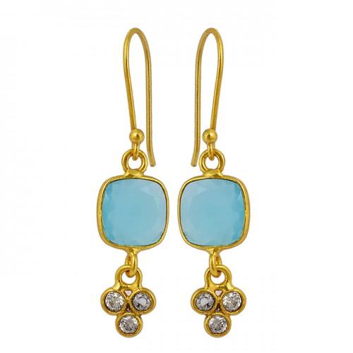 Aqua Chalcedony Cubic Zirconia Gemstone 925 Sterling Silver Gold Plated Dangle Earrings