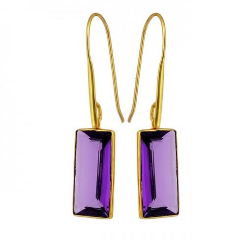 Hydro Amethyst Octagon Shape Gemstone 925 Sterling Silver Gold Plated Earrings