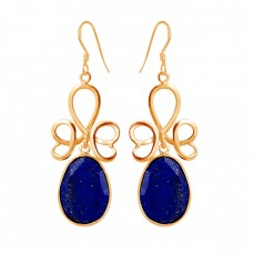 Designer Faceted Oval Shape Lapis Lazuli Gemstone 925 Silver Dangle Earrings