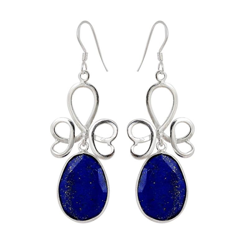 Designer Faceted Oval Shape Lapis Lazuli Gemstone 925 Silver Dangle Earrings
