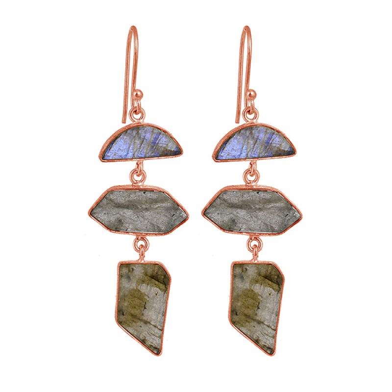 Labradorite Uneven Shape Gemstone 925 Sterling Silver Gold Plated Dangle Earrings