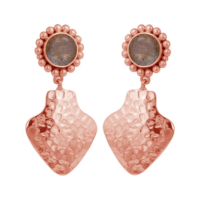 Hammered Designer Labradorite Round Shape Gemstone Gold Plated Stud Earrings