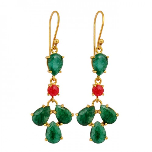 Pear Round Shape Emerald Ruby Gemstone Prong Setting Gold Plated Earrings