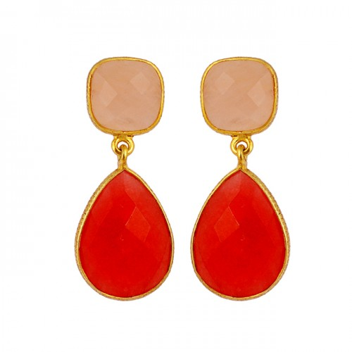 Chalcedony Ruby Gemstone 925 Sterling Silver Gold Plated Stud Dangle Earrings