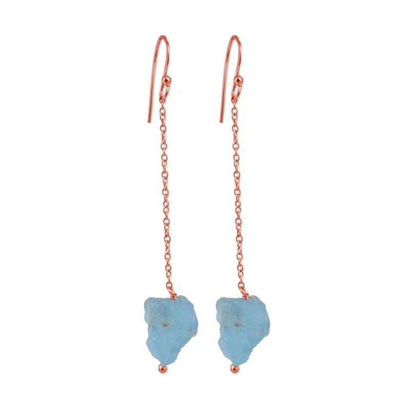 Aquamarine Rough Gemstone 925 Sterling Silver Hanging Chain Dangle Earrings