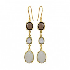 Bezel Setting Fancy Shape Gemstone 925 Sterling Silver Gold Plated Dangle Earrings
