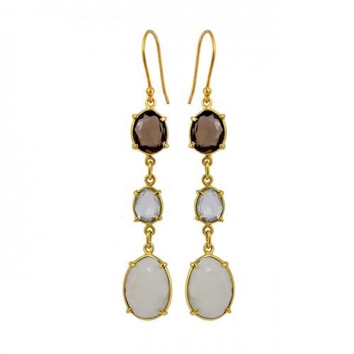 Bezel Setting Fancy Shape Gemstone 925 Sterling Silver Gold Plated Dangle Earrings