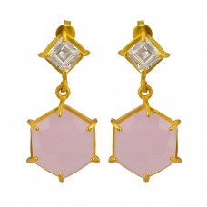 Chalcedony Cubic Zirconia Square Hexagon Shape Gold Plated Stud Dangle Earrings