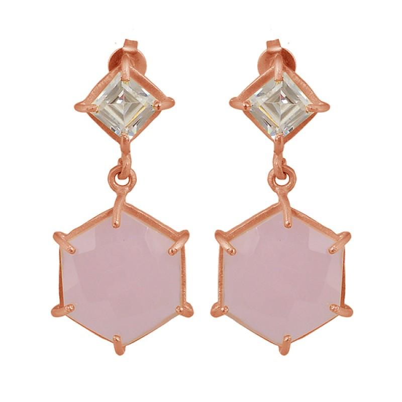 Chalcedony Cubic Zirconia Square Hexagon Shape Gold Plated Stud Dangle Earrings