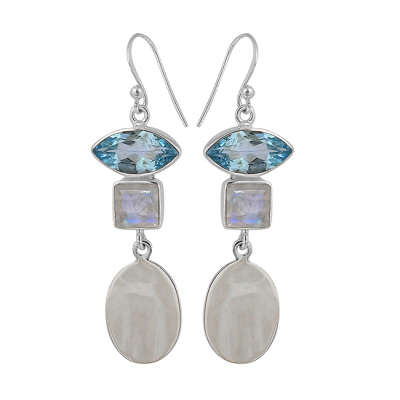 Rainbow Moonstone Blue Topaz 925 Sterling Silver Designer Handmade Dangle Earrings