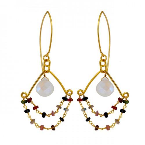 Rainbow Moonstone Multi Tourmaline Gemstone 925 Silver Gold Plated Dangle Earrings