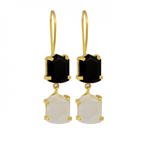Prong Setting Onyx Moonstone 925 Sterling Silver Gold Plated Fixed Ear Wire Earrings