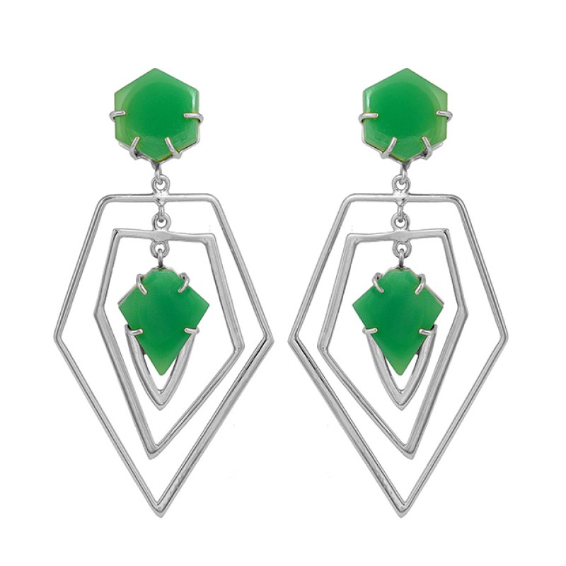 Natural Chrysoprase Gemstone 925 Sterling Silver Gold Plated Stud Dangle Earrings