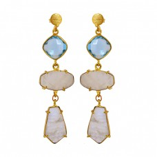 Blue Quartz Rainbow Moonstone 925 Sterling Silver Gold Plated Dangle Stud Earrings