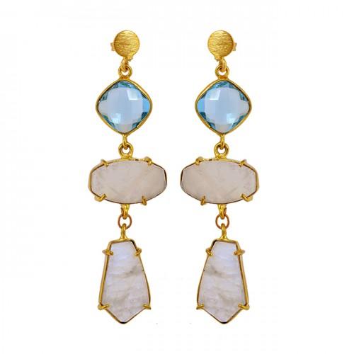 Blue Quartz Rainbow Moonstone 925 Sterling Silver Gold Plated Dangle Stud Earrings