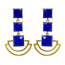 Square Cabochon Lapis Gemstone 925 Sterling Silver Gold Plated Dangle Earrings