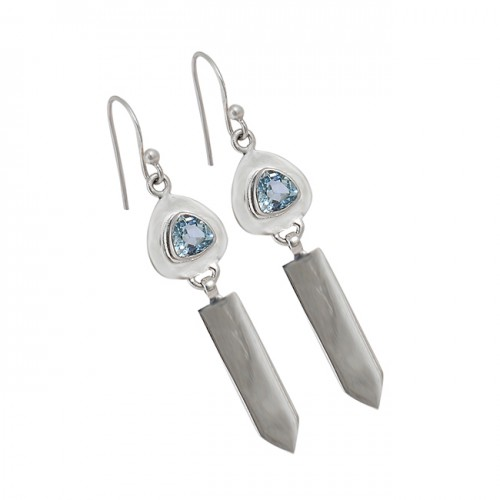 Triangle Shape Blue Topaz Gemstone 925 Sterling Silver Handmade Dangle Earrings