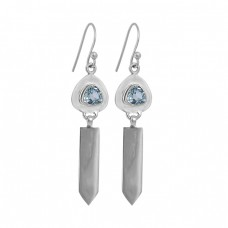 Triangle Shape Blue Topaz Gemstone 925 Sterling Silver Handmade Dangle Earrings