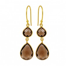 Smoky Quartz Gemstone 925 Sterling Silver Gold Plated Dangle Handmade Earrings