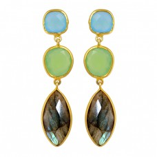 Labradorite Chalcedony Gemstone 925 Sterling Silver Gold Plated Dangle Stud Earrings
