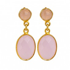 Rose Chalcedony Gemstone 925 Sterling Silver Gold Plated Dangle Stud Earrings