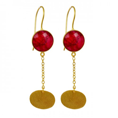 Stylish Ruby Briolette Round Shape Gemstone Gold Plated Fixed Ear Wire Earrings